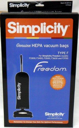 Simplicity Type F HEPA Vacuum Cleaner Bags 6 Pack - Genuine Kitchen