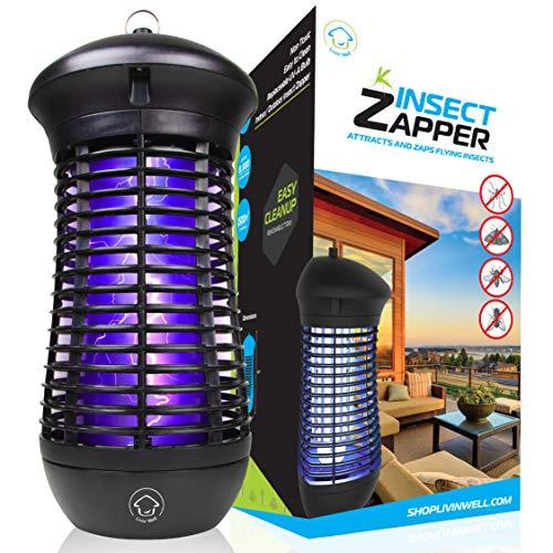 Livin Well Bug Zapper - Mosquito Zapper Insect Zapper Trap Outdoor Bug Zapper Light w 4000V Electric Bug Zapper Grid and 18W UVA Mosquito Lamp