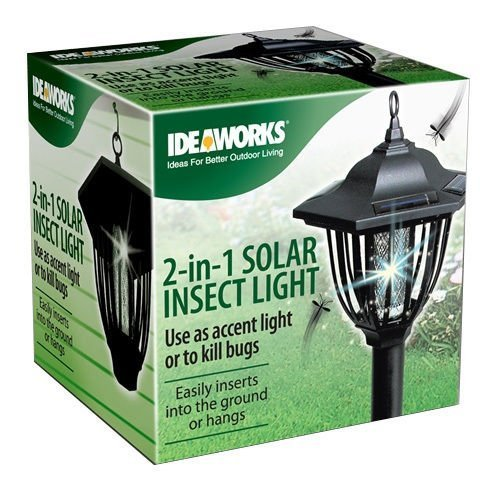 2 in 1 Solar Insect Light Zapper Accent Light Kill Bugs Hanging LED Mosquito NEW by IdeaWorks