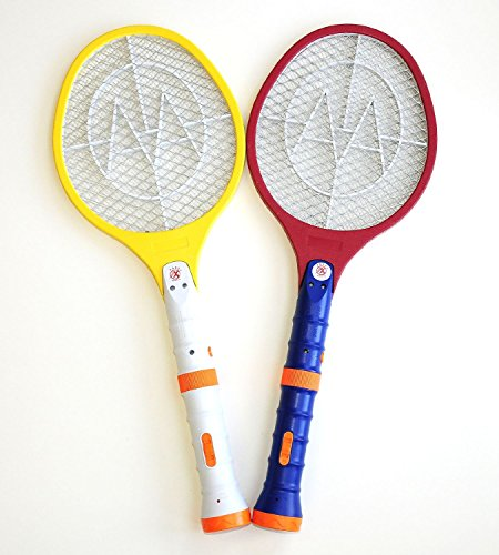 Dlux Set Of 2 Electric Bug Zapper Racket Fly Swatter Mosquito Zapper Rechargeable With Dual Led Flash Light