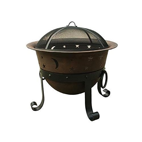 Catalina Creations 29 Inch Heavy Duty Cast Iron Celestial Cauldron Patio Fire Pit with Cover and Accessories