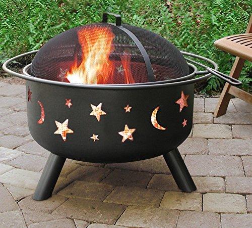 Belleze Outdoor Firepit Diamond Wood-Burning Fire Pit Sky Stars Moons Design with Lids