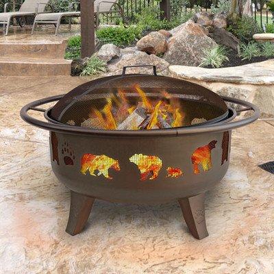 Landmann Patio Lights Firedance Bear Paw Wood Burning Fire Pit - Bronze