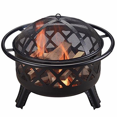 Peaktop CU296 Steel Wood Burning Fire Pit 30 Black