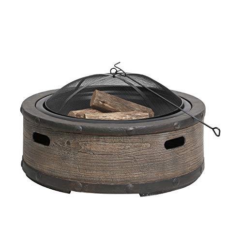 Sun Joe SJFP35-STN-BRL 35-in Cast Stone Base Wood Burning Fire Pit wDome Screen and Poker Rustic Barrel