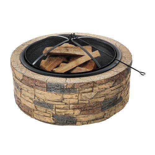 Sun Joe SJFP35-STN Cast Stone Base Wood Burning Fire Pit wDome Screen and Poker