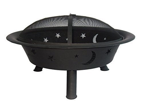 Catalina Creations 29 Inch Round Wood Burning Patio Fire Pit  Backyard Firepit for Outside with Celestial Cutouts  PokerLift Tool Spark Screen Included  Black - AD796