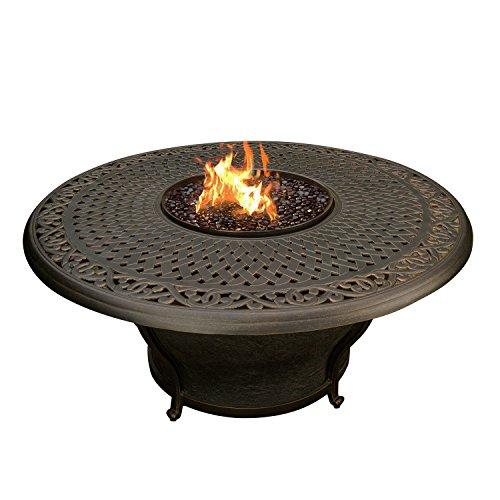 Oakland Living Charleston Round Gas Firepit Table Antique Bronze AZ8206-RD48-GST-AB