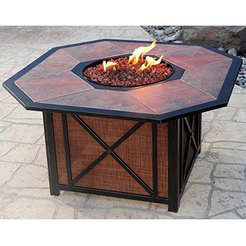 Oakland Living Haywood Octagon Gas Firepit Table Antique Bronze