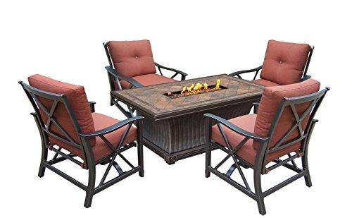 Oakland Living Vienna Gas Firepit Table Antique Bronze