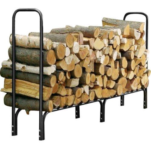 firewood basket 8 Feet Outdoor Heavy Duty Steel Firewood Log Rack Wood Storage Holder Black firewood rack