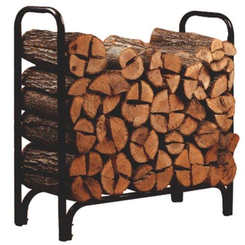 4ft Feet Outdoor Heavy Duty Steel Firewood Log Rack Wood Storage Holder Black