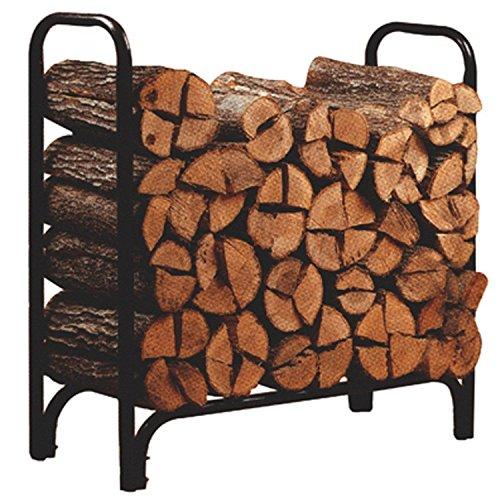 Walcut Deluxe Outdoor Heavy Duty 4 ft Black Steel Firewood Log Rack Wood Storage Holder