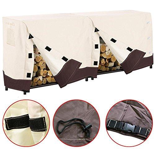 Topeakmart 4ft8ft Log Rack Cover Waterproof Outdoor Patio Veranda Log Firewood Protection Holder Beige 8 x 2x 35 ft LxWxH