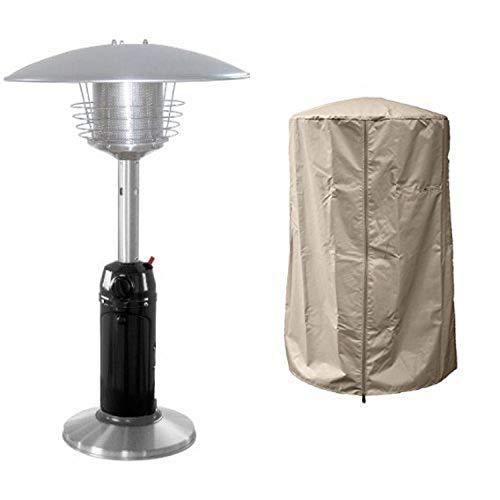 AZ Patio Black Finish Portable Table Top Patio Heater HLDS032-BSS with 39 Heavy Duty Heater Cover - Tan
