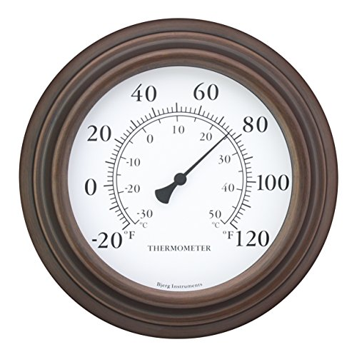 Bjerg Instruments 8 Decorative IndoorOutdoor Patio Wall Thermometer Bronze