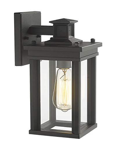 Zeyu Outdoor Porch Light Exterior Wall Sconce Lantern for Hallway Patio Black Finish with Clear Glass Shade 02A30W BK