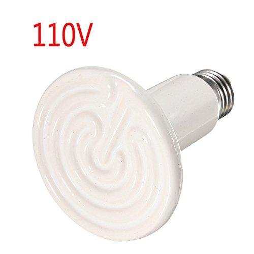 KAMOLTECH Diameter 75mm Ceramic Emitter Heated Pet Appliances Reptile Heat Lamp 100W AC 110V
