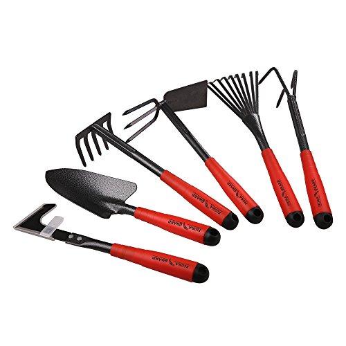 FLORA GUARD 6 Piece Garden Tool Sets - Including Trowel5-Teeth rake9-Teeth Leaf rakeDouble Hoe 3 prongs Cultivator Weeder Gardening Hand Tools with High Carbon Steel Heads