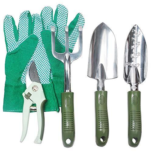Hi-Spec Garden Tools Set of Yard Gardening Tools with Aluminum Garden Hand Tools Hand Trowel Hand Rake Narrow Trowel Pruning Shears Gardening Gloves - Gardening Kit 5 Piece
