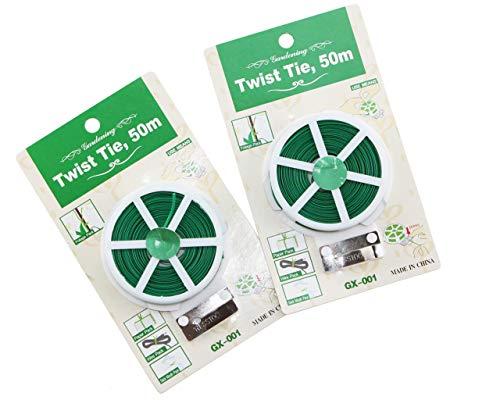 Apol Set of 2 Garden WirePlastic Twine with CutterGarden Twist Tie50m Pro Reel