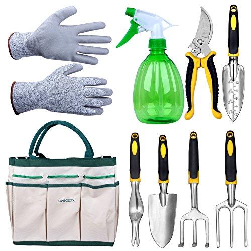 LANBOZITA Garden Tools9 Piece Gardening Tools Set Including Trowel Transplanter Cultivator Pruner Weeder Weeding Fork Canavas Tote Sprayer Bottle and Gloves