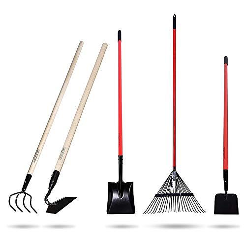 GardenAll 5-Piece Garden Tools Set - Include ShovelRakeCultivatorHoeSidewalk Scraper with Long-Handle - Super