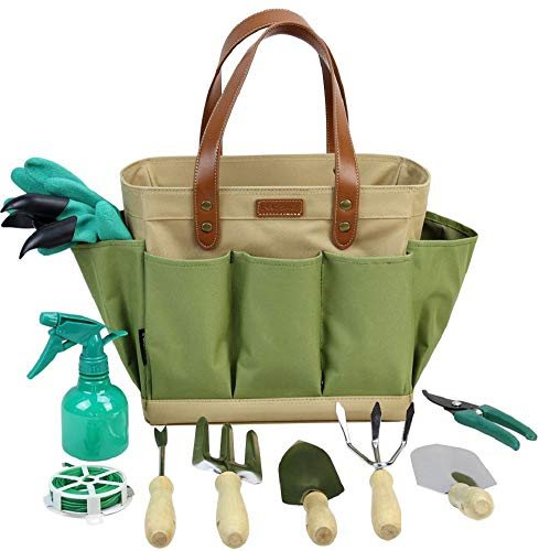 INNO STAGE Garden Tool Organizer Tote Bag with 10 Piece Garden ToolsBest Gardening Gift SetVegetable Garden Tool KitGardening Hand Tools Set Bag with Garden Digging Claw Gardening Gloves