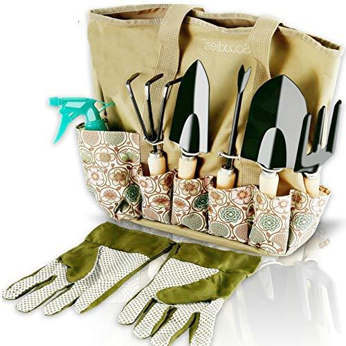 Scuddles Garden Tools Set - 8 Piece Heavy Duty Gardening Kit With Storage Organizer Ergonomic Hand Digging Weeder Rake Shovel Trowel Sprayer Gloves Gift for Men Or Women