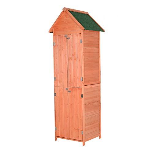 Storage Shed Wooden Garden Tool Organizer Outdoor House 4-Door with Ebook