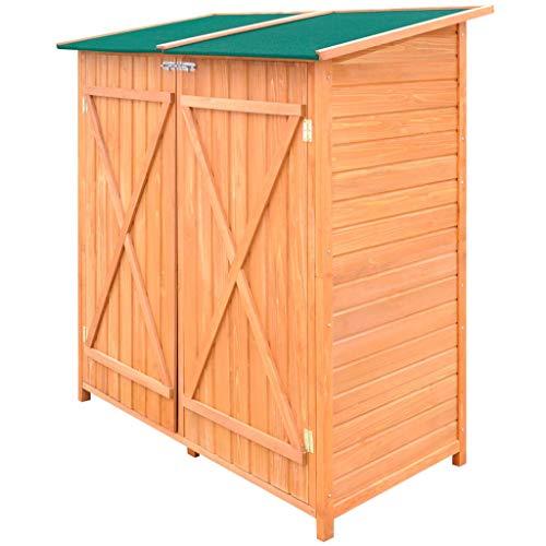 irene inevent Wood Storage Garden Shed Solid Wooden Garden Tools Organizer Room Yard Outdoor Storage Cabinet