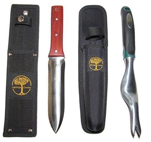 Hori Hori Knife And Hand Weeder Set-oakridge Gardens -gardening Tools For Master Gardeners -has Sheath -loved