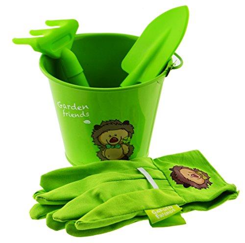 Garden Friends Gardening 4pieces Kids Tool Set In Green Color Gloves Trowel Cultivator Bucket Combo Set