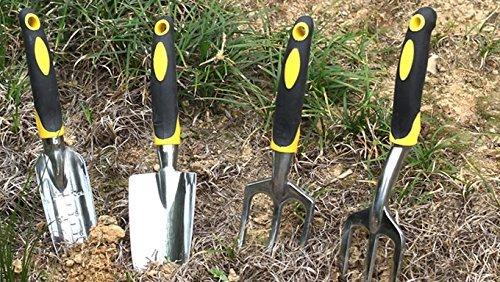 Sprite Science&trade Garden Tool Set 4-piece Black Ergonomic Hand Tool Set Including A Spade A Transplanter Trowel