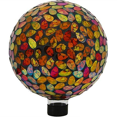 Sunnydaze Mosaic Gazing Globe Glass Garden Ball Outdoor Lawn and Yard Ornament Gold 10 Inch