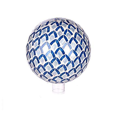 Topadorn Metallic Wonder Mosaic Glass Gazing Globe Ball Outdoor and Indoor Decorations for Home Garden Patio Party Yard Blue Petal