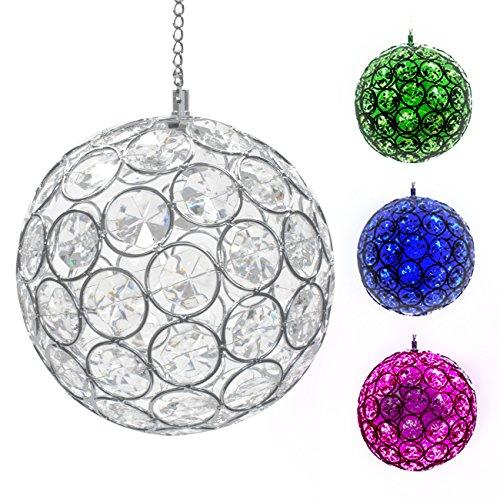 Sorbus Solar Hanging Crystal Ball Lightndash Outdoor Led Gazing Ball Light With Sparkling Led Light Colors