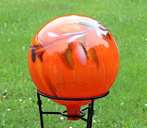 Glass Gazing Ballquotcircus Orange Iridized&quot 12 Inch By Iron Art Glass Designs