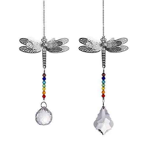 Crystal Suncatcher Chakra Colors Beads Dragonfly Window Hanging Ornament Rainbow SuncatcherPack of 2 for Christmas DayWeddingPlantsCarsWindow Decor