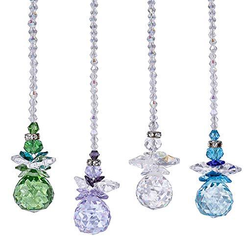 H&D Beautiful Angel Crystal Ball Pendant Chandelier Decor Hanging Prism OrnamentsCrystal Ornament Ball Suncatcher Window PrismsPack of 4