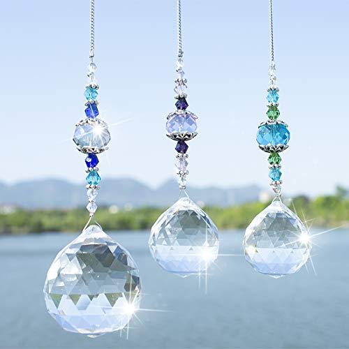 H&D Clear Crystal Prism Ball Rainbow Maker Window Prisms SuncatcherPack of 3
