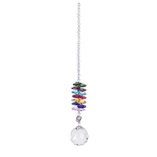Home-world Handmade 30mm Clear Crystal Ball Pendant Octagon Beads Cascade Rainbow Maker Suncatcherwindow Decorations