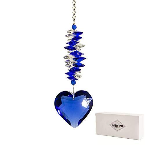 WEISIPU 45mm Heart Crystal Ball Prism Pendant - Windows Suncatcher Outdoor Garden Hanging Décor for Gift11 Long Blue