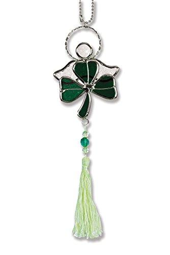 BANBERRY DESIGNS Shamrock Suncatcher - Green Stained Glass Shamrock with Irish Angel - Irish Decor - St Patricks Day Decoration - Glass Shamrock - Irish Gifts - Irish Sun Catcher