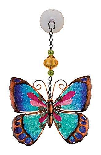 Regal Art Gift Suncatchers Green Butterfly Blue Bird Glass Sun Catcher for Home Garden Window and Wall Art