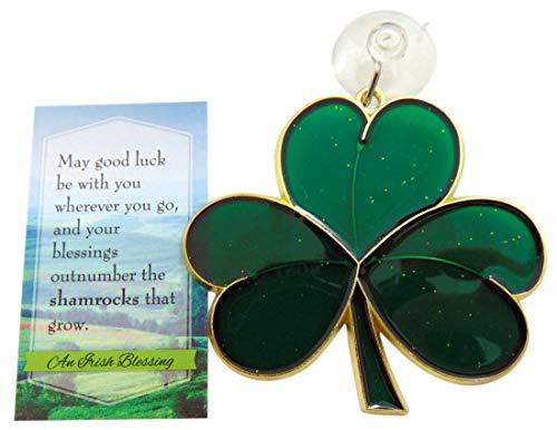 Westmon Works Shamrock Suncatcher Gift Set Irish Blessing Prayer Card and Irish Sun Catcher Boxed
