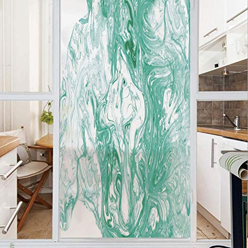 Decorative Window FilmNo Glue Frosted Privacy FilmStained Glass Door FilmTrippy Fluid Mixed Color Motif with Watercolor Paintbrush Featured Art Printfor Home Office236In by 472In Jade Green