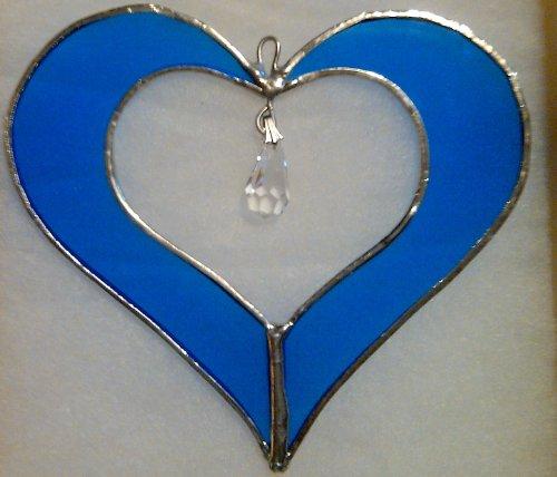 5Stained Glass Cobalt Blue Heart Suncatcher