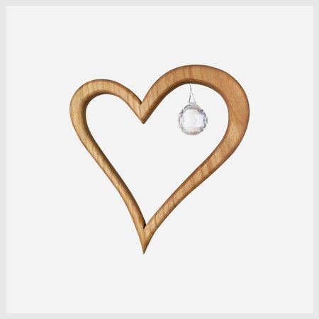 Wooden Heart Suncatcher Window Decoration 5 with Swarovski Crystal