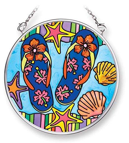 Amia 42080 3-12-inch Hand Painted Glass Circle Suncatcher Small Flip Flop Beach Design
